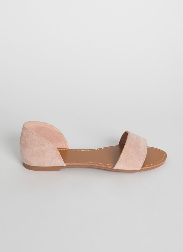 Simply Chic Faux Suede Sandals NUDE