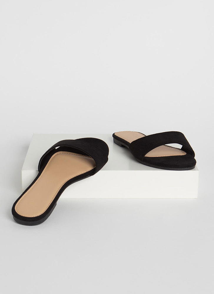 Simply Chic Faux Suede Slide Sandals BLACK