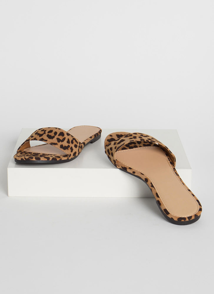 Simply Chic Faux Suede Slide Sandals LEOPARD