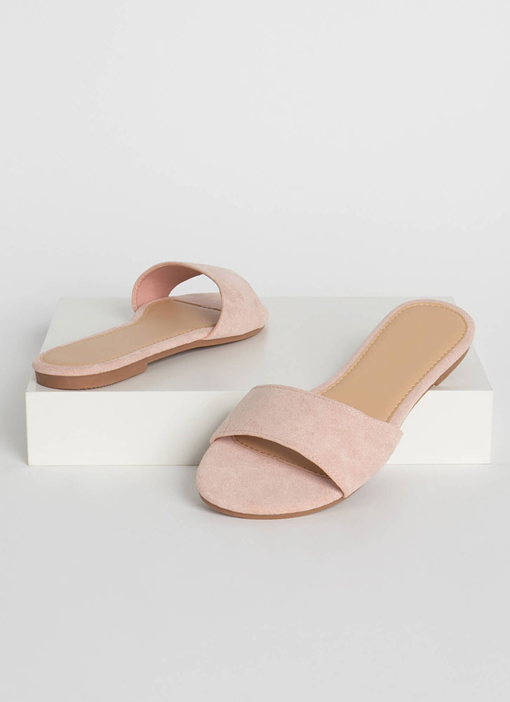 Simply Chic Faux Suede Slide Sandals NUDE