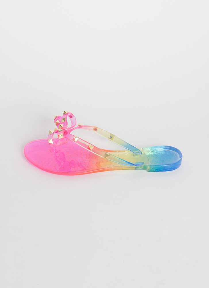 Bow-tiful Studded Ombre Jelly Sandals RAINBOW