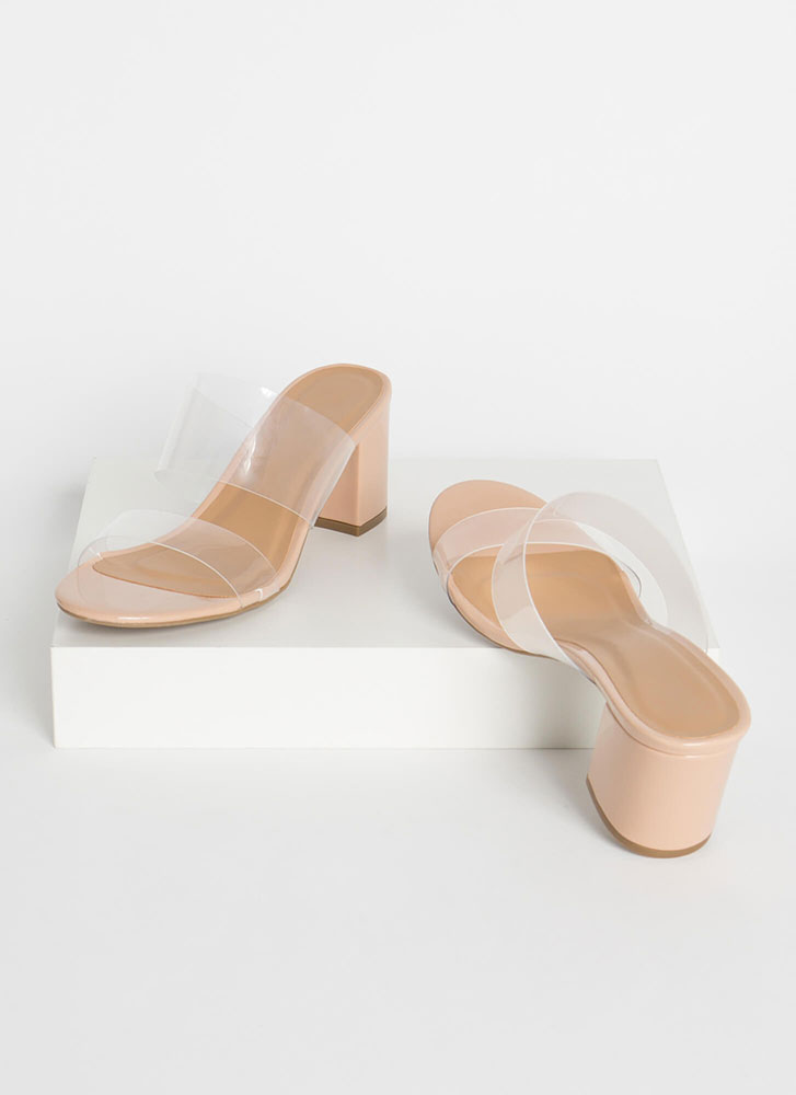 Clear And Chunky Faux Patent Mule Heels NUDE