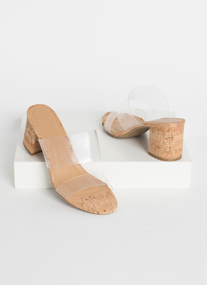 Clear And Chunky Cork Mule Heels NATURAL