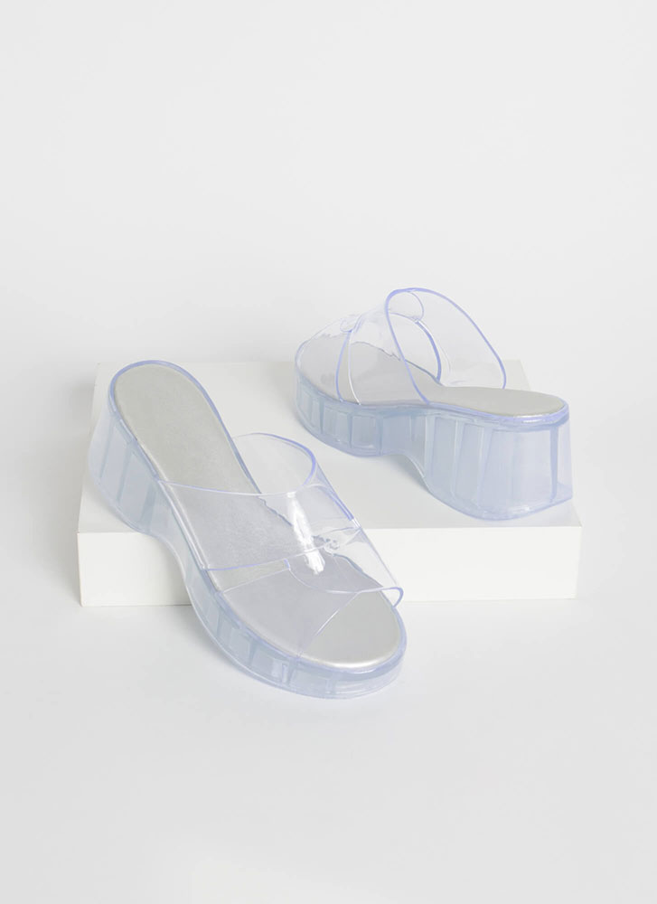 Clear Edge Jelly Wedge Sandals CLEAR