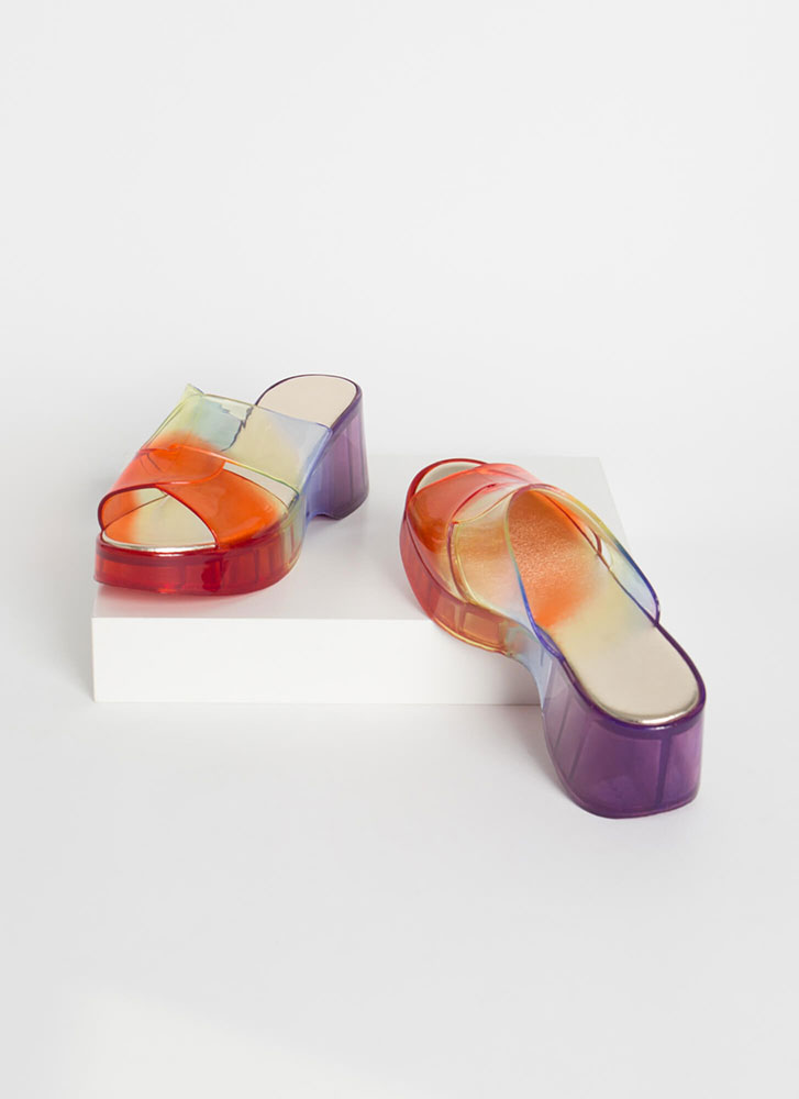 Clear Edge Rainbow Jelly Wedge Sandals ORANGE