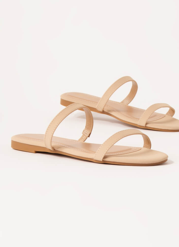 Two Strappy Faux Nubuck Slide Sandals NUDE