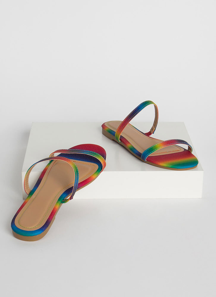 Two Strappy Rainbow Slide Sandals RAINBOW