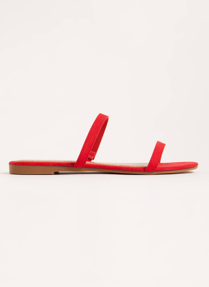 Two Strappy Faux Suede Slide Sandals RED