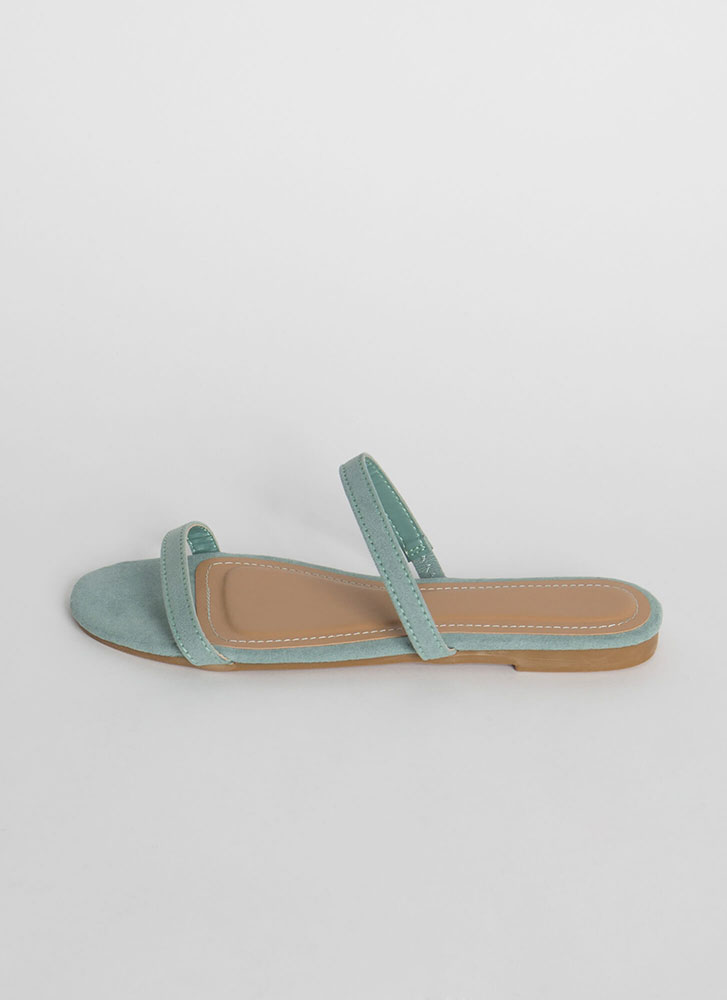 Two Strappy Faux Suede Slide Sandals SAGE