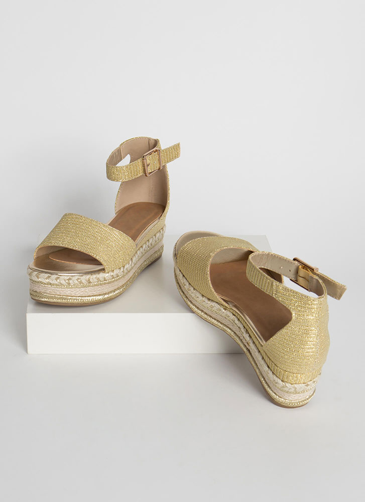 Vacation Sparkly Woven Wedge Sandals GOLD
