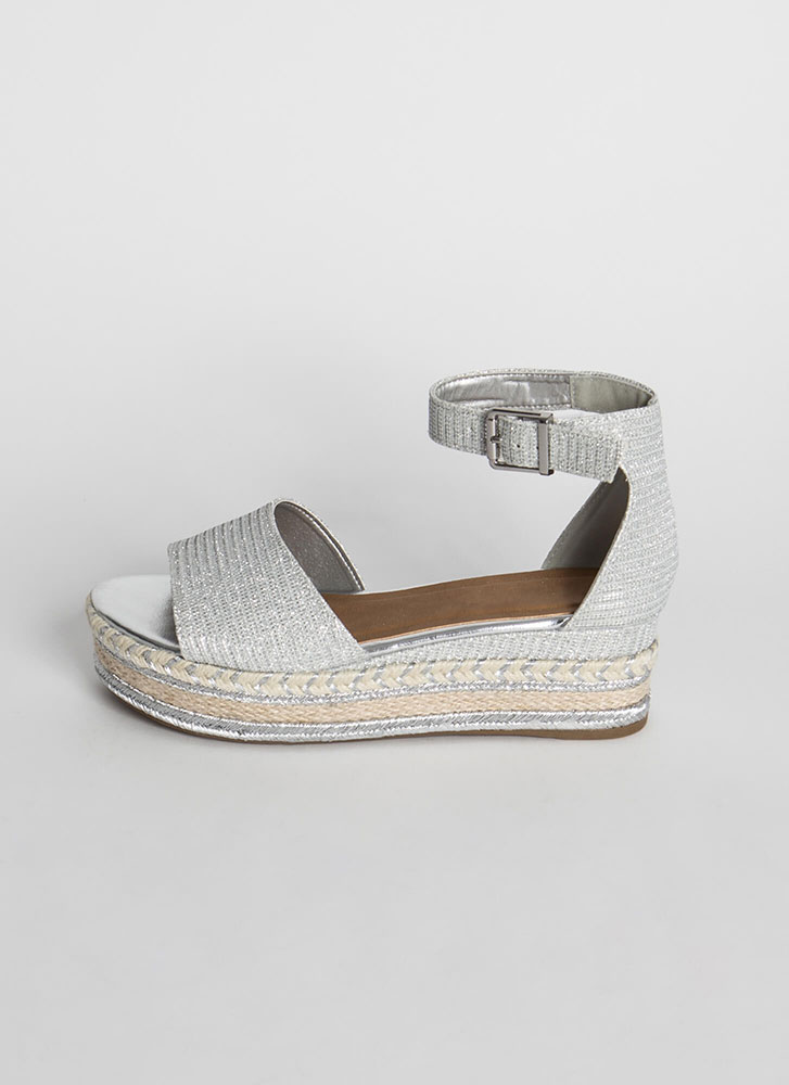 Vacation Sparkly Woven Wedge Sandals SILVER