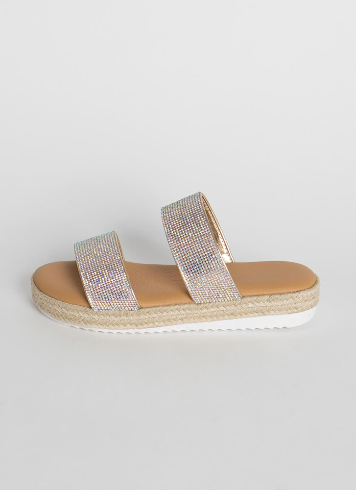 Better Jeweled Platform Slide Sandals GOLD
