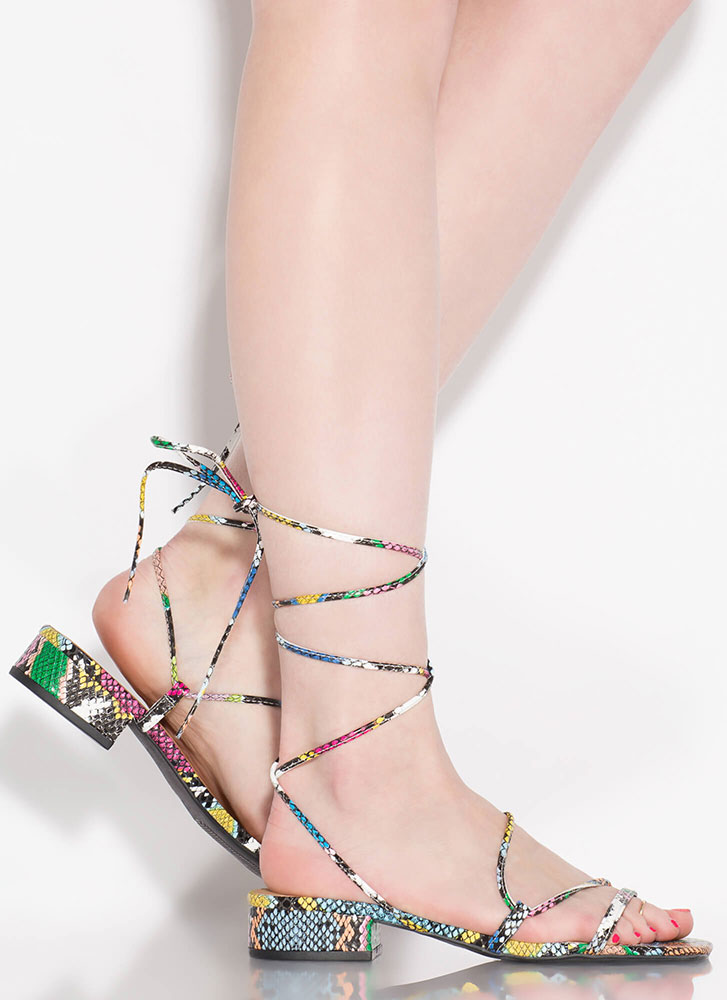 Lace-Up For Life Snake Print Sandals MULTI