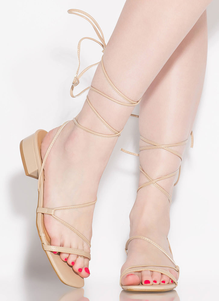 Lace-Up For Life Faux Leather Sandals NUDE (Final Sale)