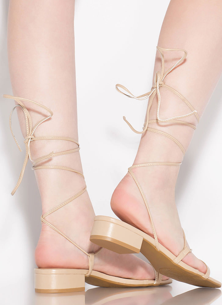 Lace-Up For Life Faux Leather Sandals NUDE
