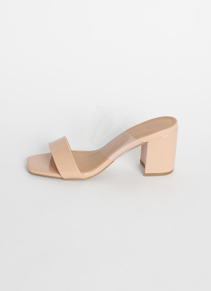 Clearly Chic Chunky Faux Patent Heels NUDE