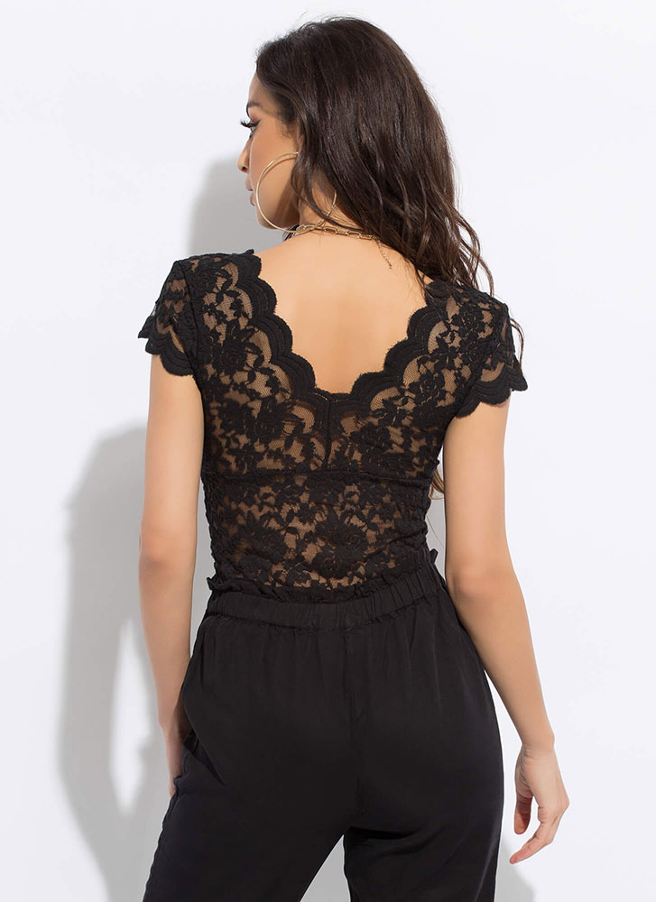 All Lace All The Time Scallop Trim Top BLACK