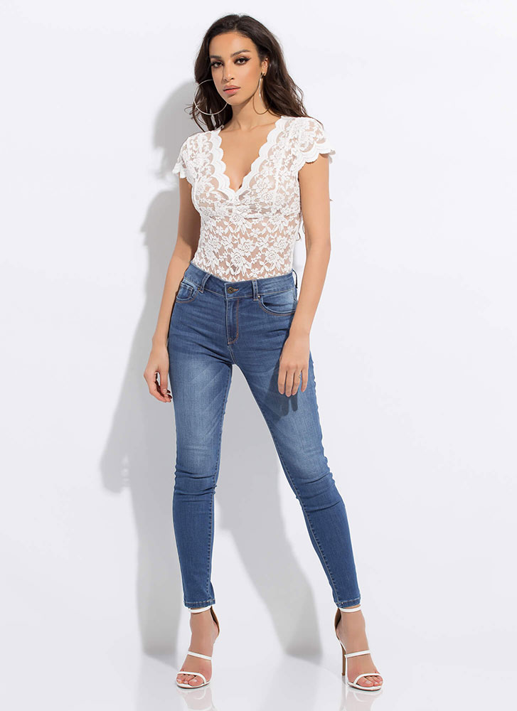 All Lace All The Time Scallop Trim Top WHITE