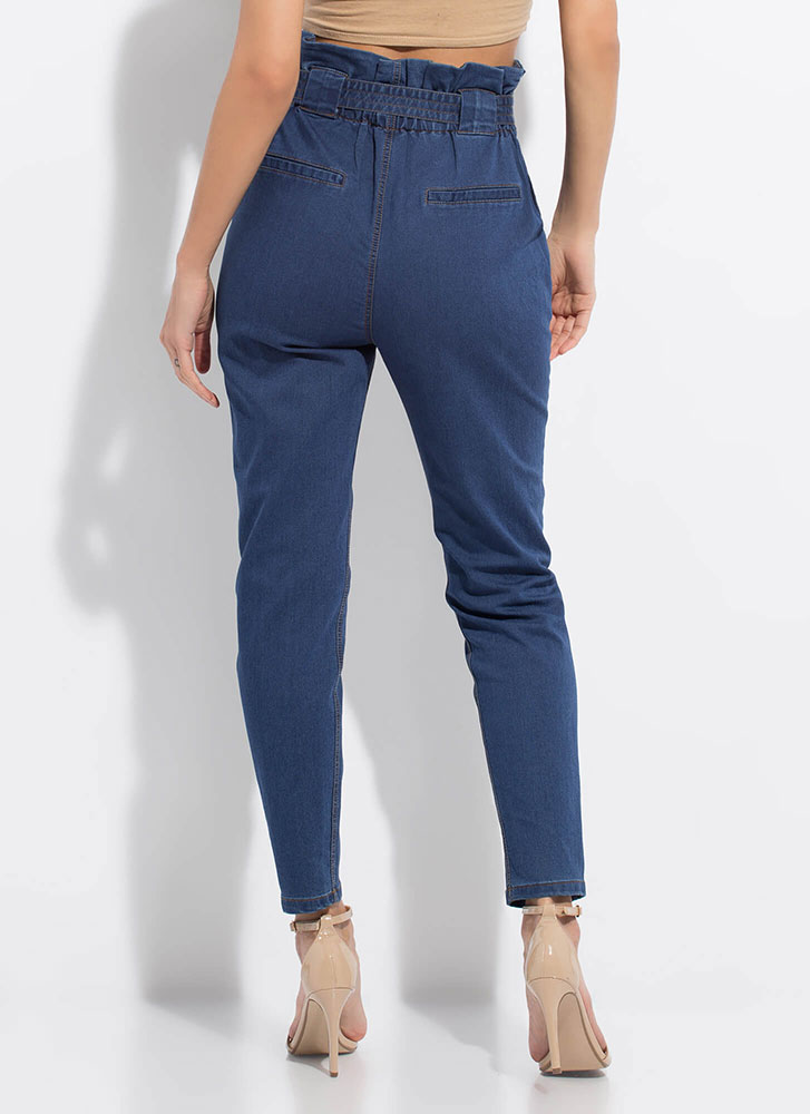 Denim Queen Belted Paper-Bag Trousers DKBLUE