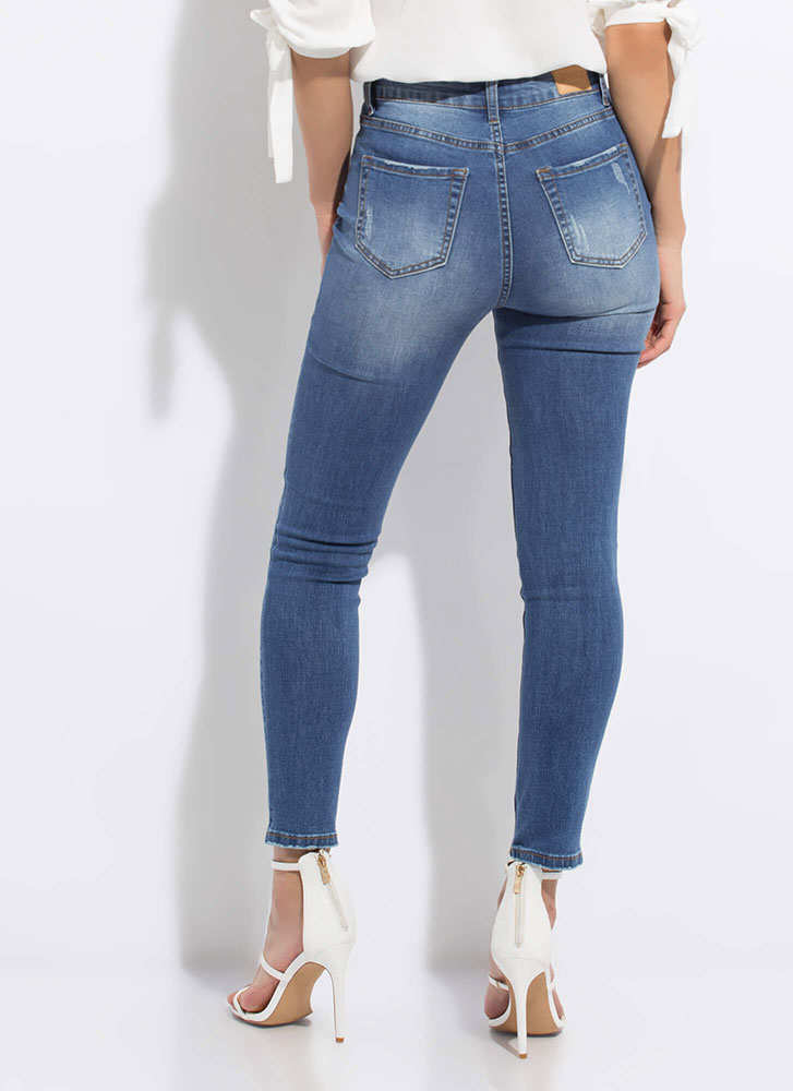 I'll Destroy You Distressed Skinny Jeans MEDBLUE