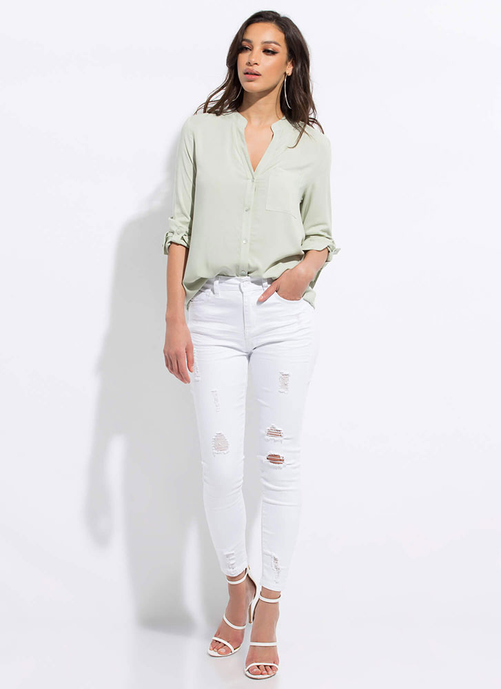 Chic Upgrade Button-Up Tunic Blouse MINT