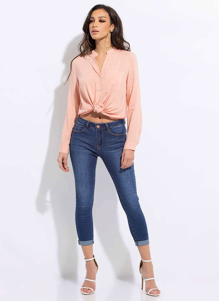 Chic Upgrade Button-Up Tunic Blouse PEACH