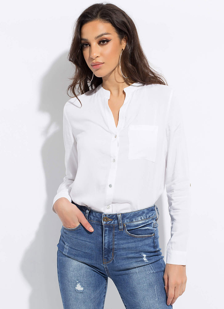 Chic Upgrade Button-Up Tunic Blouse WHITE