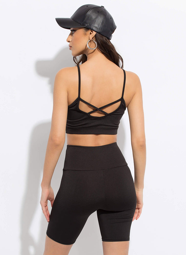 Work It Padded Cropped Tank Top BLACK