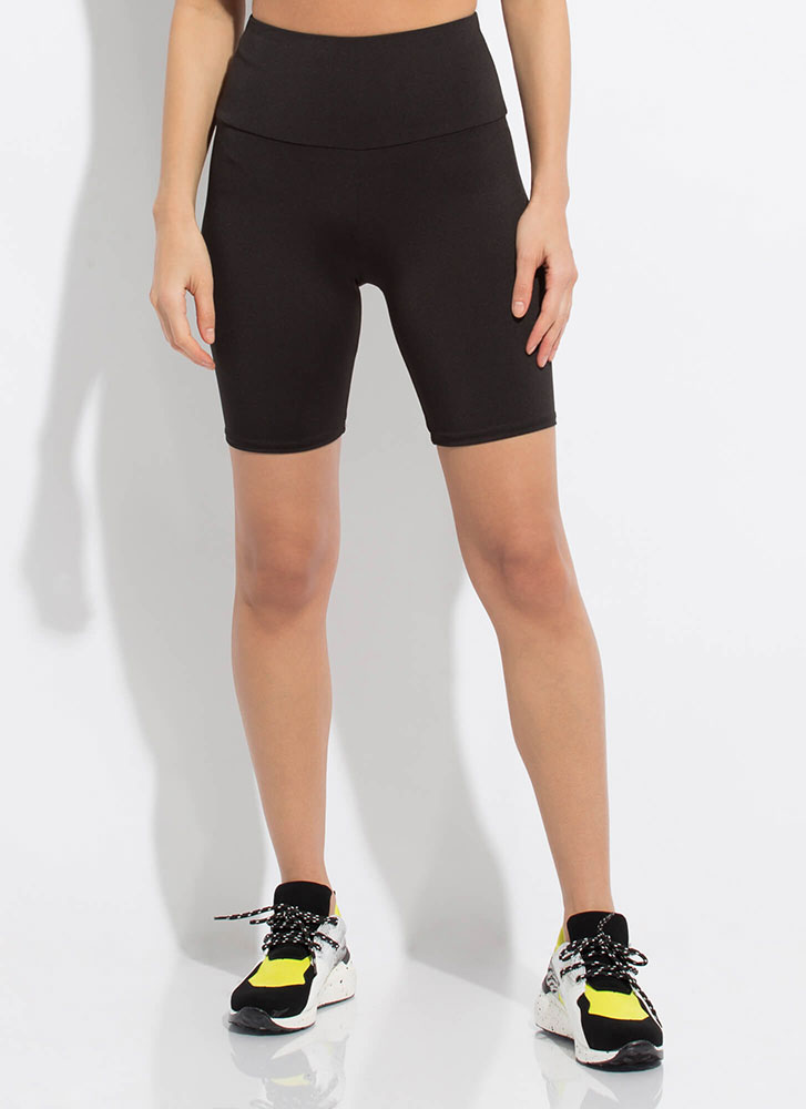 Work It High-Waisted Biker Shorts BLACK