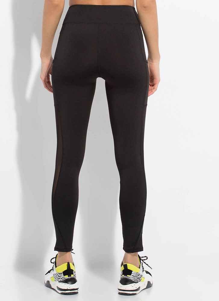 I'm A Hot Mesh Pocketed Leggings BLACK