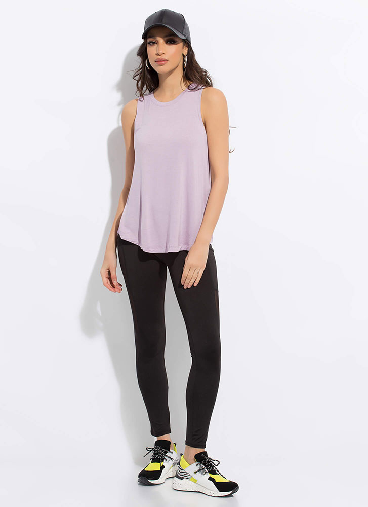Put In The Work Flared Tank Top LAVENDER