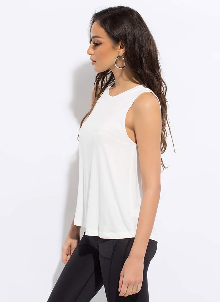 Put In The Work Flared Tank Top WHITE