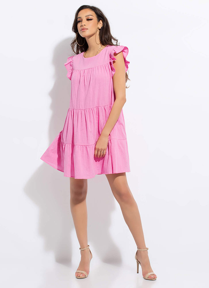 Hey Babydoll Frilly Tiered Minidress PINK (Final Sale)