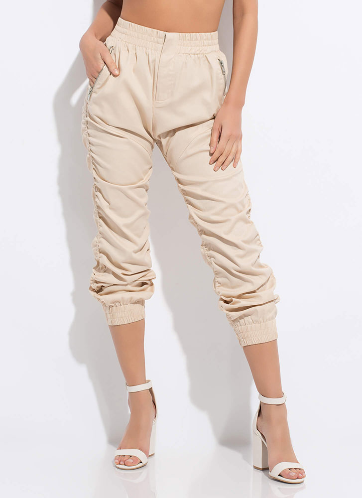 Positively Shirr Ruched Joggers BEIGE