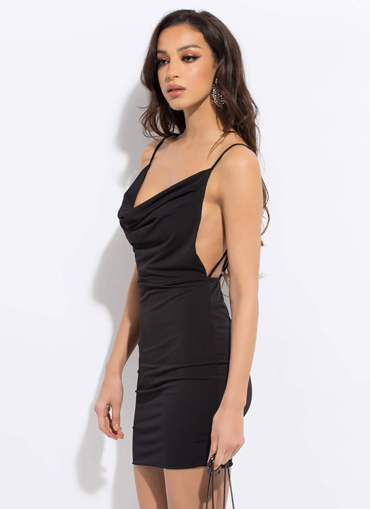 Hot Ones Open-Back Draped Cowl Minidress BLACK
