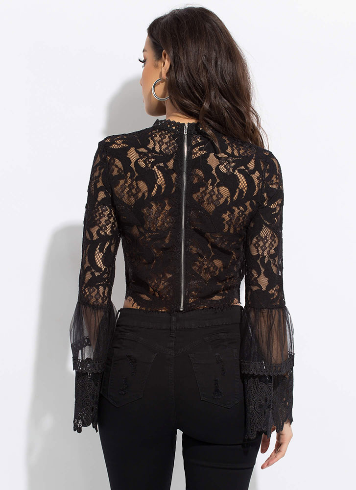 All Over The Lace Sheer Bell Sleeve Top BLACK