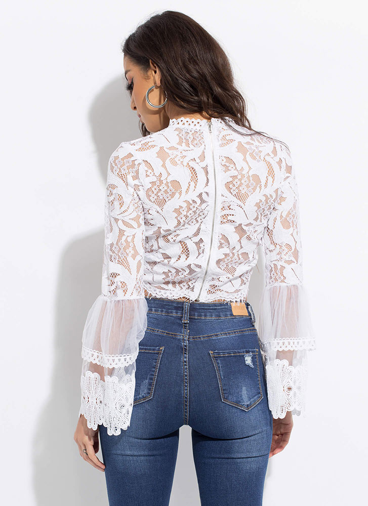 All Over The Lace Sheer Bell Sleeve Top WHITE