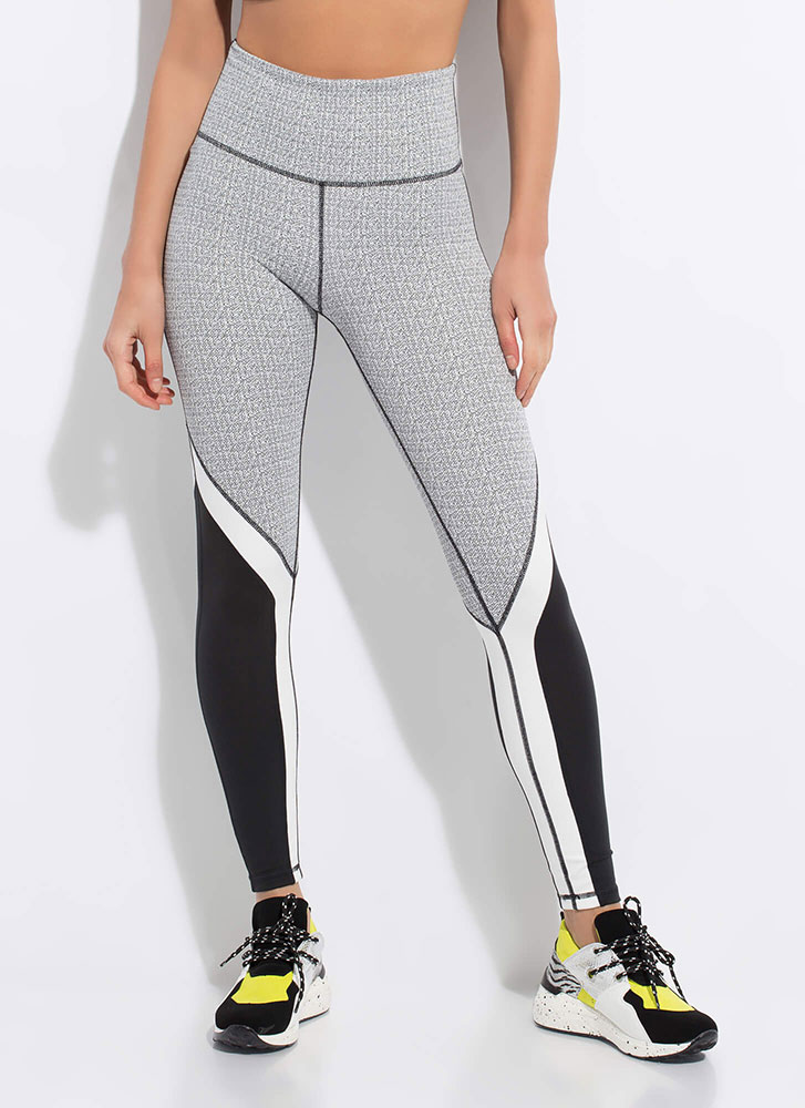 Sporty Statement Colorblock Leggings BLACKWHT