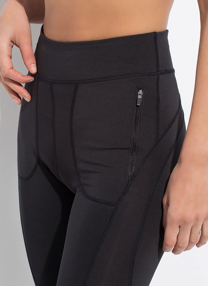 Zip Thru My Workout Pocketed Leggings BLACK