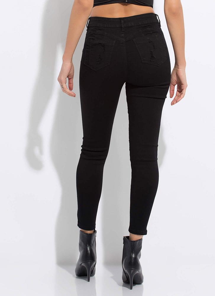 No Stress Distressed Butt-Lift Jeans BLACK