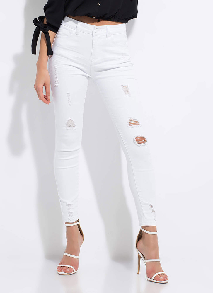 No Stress Distressed Butt-Lift Jeans WHITE