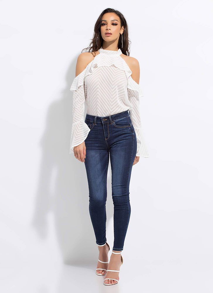 Peach Me A Lesson Butt-Lift Skinny Jeans DKBLUE