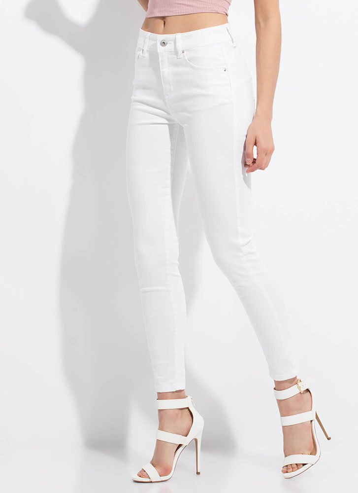 Peach Me A Lesson Butt-Lift Skinny Jeans WHITE