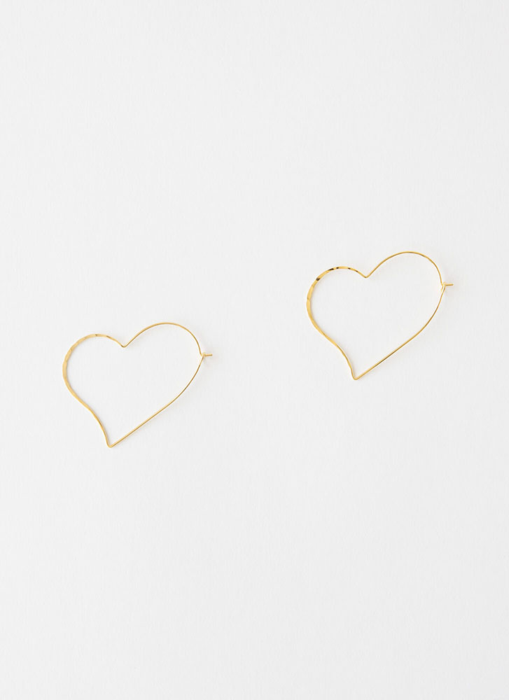 Heart Beat Wired Hoop Earrings GOLD