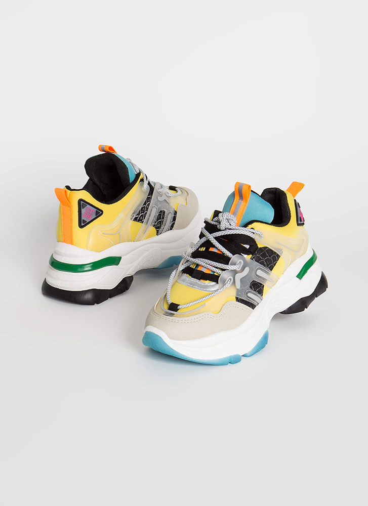 To The Max Mixed Media Platform Sneakers YELLOW