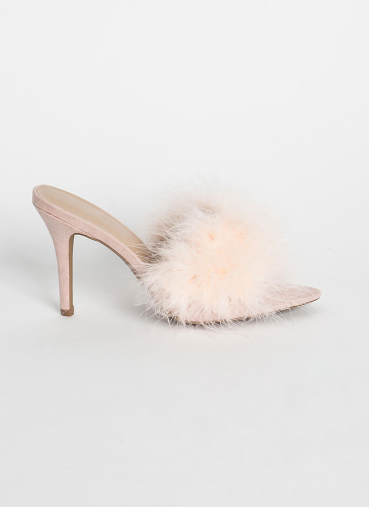 Soft And Feathery Furry Mule Heels NUDE