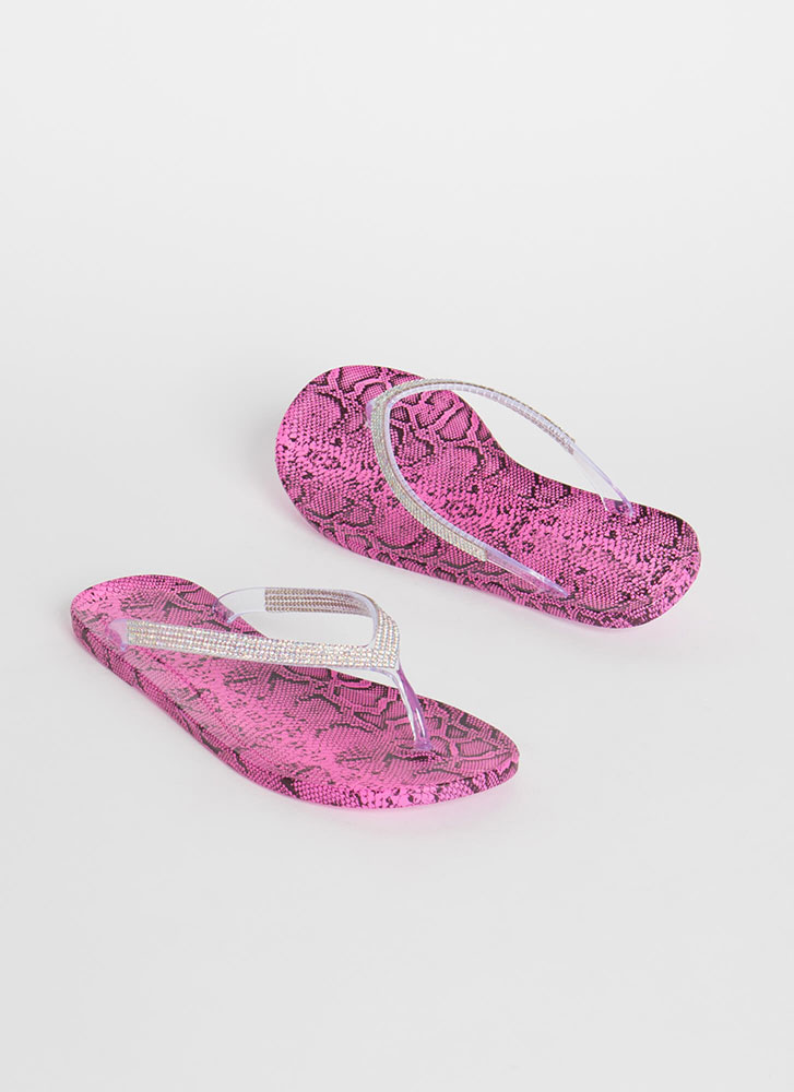 You Snake Jeweled Jelly Thong Sandals FUCHSIA