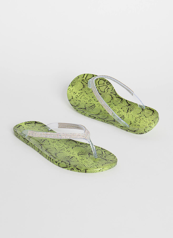 You Snake Jeweled Jelly Thong Sandals GREEN