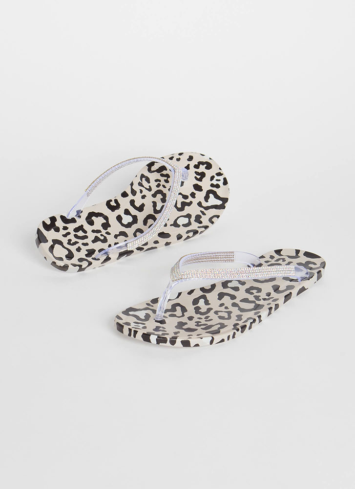 You Animal Jeweled Jelly Thong Sandals LEOPARD