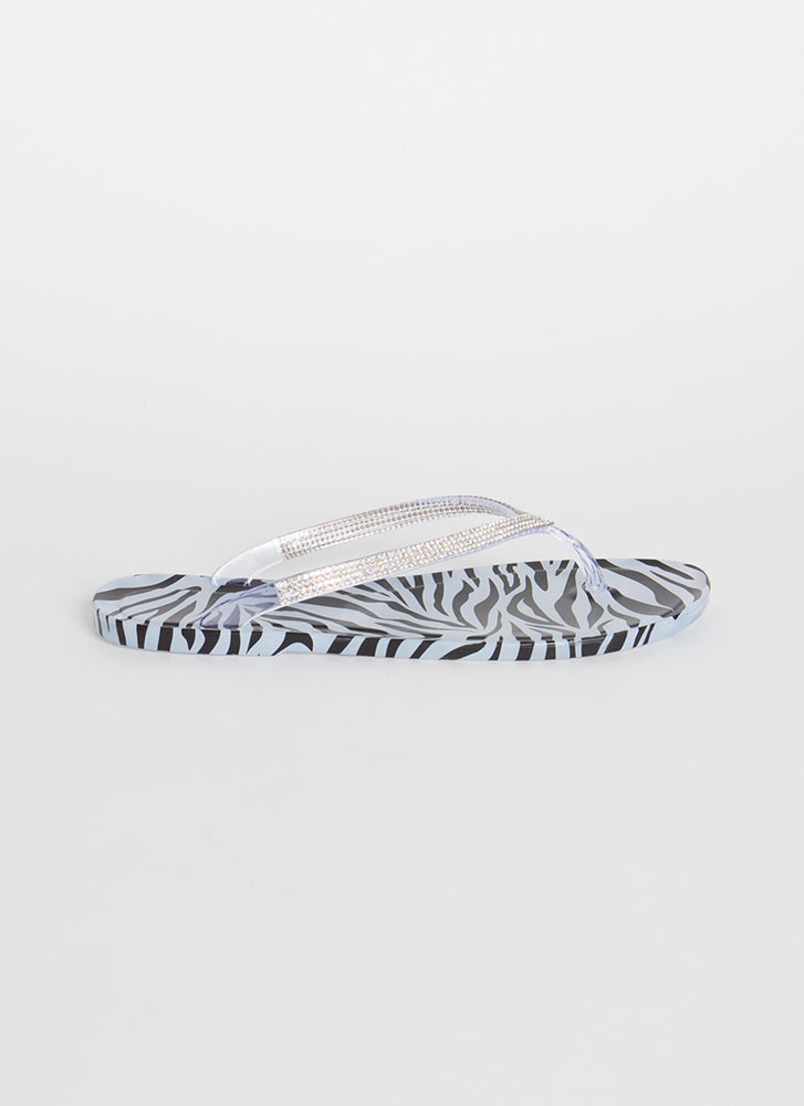 You Animal Jeweled Jelly Thong Sandals ZEBRA